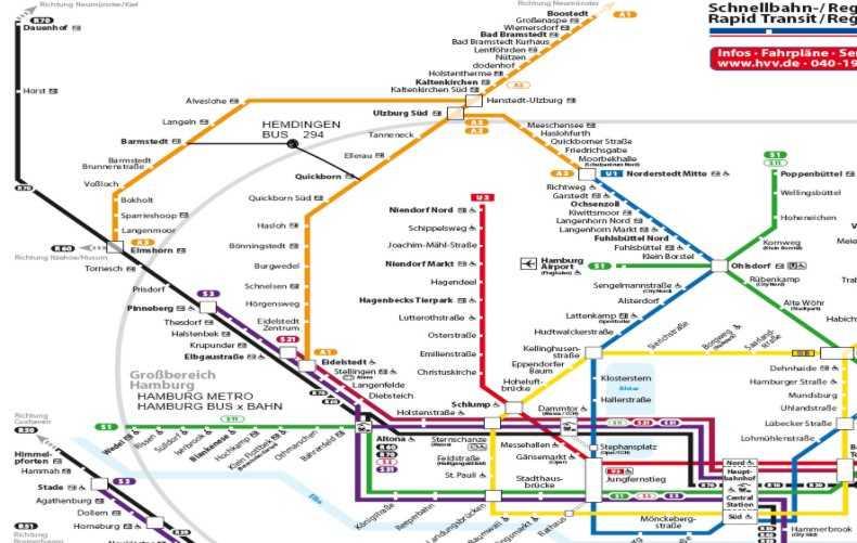 HVV Verkehrsverbung Anreisekarte